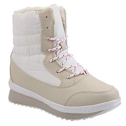 Aurorax-shoes Womens Waterproof Snow Boots,Lace up Mid-Calf