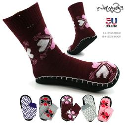 Women Knit Boot Slippers Socks Shoes Indoor Non-Slip Crew Cu