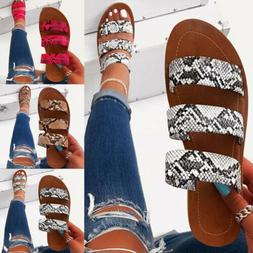Women Ladies Snakeskin Straps Slippers Flat Casual Summer Be