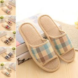 Women Men Winter Indoor Slippers Warm Linen Plaid Shoes Hous