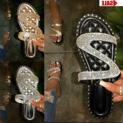 Women Rhinestones Shiny Slippers Ladies Summer Party Sandals