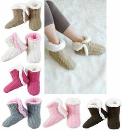 Women's Cable Knit Booties House Slippers w/ Sherpa Fleece L