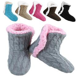 Yelete Women's Cable Knit Slippers House Booties Soft Sherpa