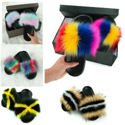Women's Fox Fur Slides Fuzzy Furry Slippers Comfort Sliders