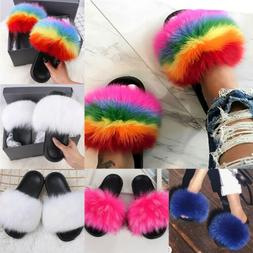 women s fox fur slides fuzzy furry