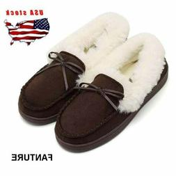 Women's Fur Lined Driving Moccasins Loafers Suede Flats Hous