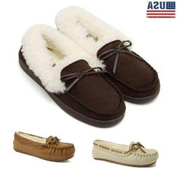Women's Home Fanture Moccasins Suede Fur Lined Slippers Driv