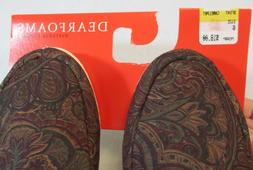 Dearfoams Women's House Shoes Slippers Brown Paisley Design