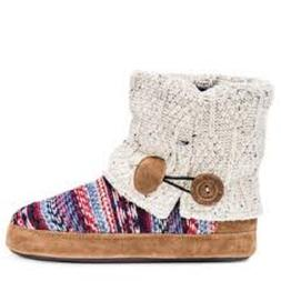 MUK LUKS Women's Patti Oatmeal Boot Slipper Small Indoor Hou