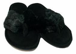 Dearfoams Women's Pile Thong Slippers, Black, Medium 7-8