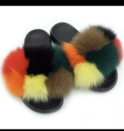 Women's Sliders Luxury Real Fox Fur Indoor Outdoor Slides Sl