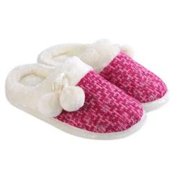 Women's Slip-on Knit Weave Plush Slippers With Pom Poms Bedr