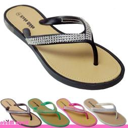 Women's Summer Bling Shinning Casual Thong Flat Flip Flops S