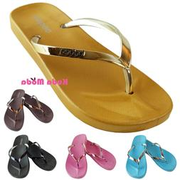 Women's Summer Metallic Strap Casual Thongs Flat Flip Flops