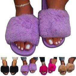Women Summer Fluffy Fur Slides Slippers Ladies Sandals Slip