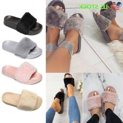 womens casual faux fur slides slippers lady