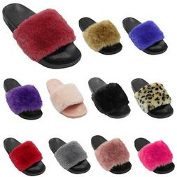 Womens Faux Fur Slides Slip on Fuzzy Sandal Slipper Shoes
