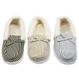 Womens Faux Fur Slippers House Shoes Felt Color Slip On Mocc