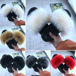 Womens Flat Shoes Fluffy Fur Sandals Shoes Sliders Slippers
