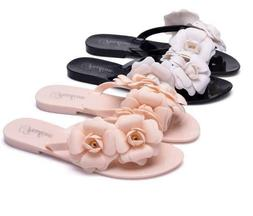 Womens Flower Decor Jelly Flats Flip Flops Summer Beach Sand