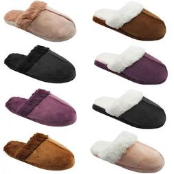 Womens Furry Slide Slippers Suede Fuzz Cozy House Shoes Scuf