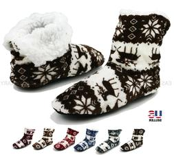 Womens Fuzzy Soft Warm Fleece Lined Ankle Booties Slippers H