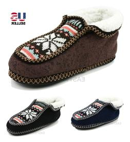 Womens Knit Fleece Fur Lined Bootie Slippers House Shoes Sof
