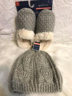 Women's Knitted Winter Beanie Hat & Slippers   Gray