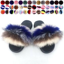 Womens Ladies Fur Slides Fuzzy Furry Slippers Comfort Slider