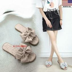 womens ladies summer bow espadrille flat slippers
