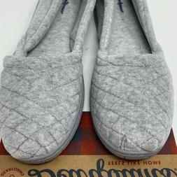 Dearfoams Womens Large 9 10 Slippers Heather Gray Quilted Ve