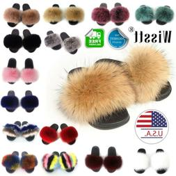 Womens Real Fox Fur Slides Fuzzy Furry Slippers Comfort Slid