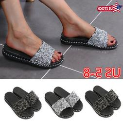 Womens Rhinestone Flat Sandals Slides Slippers Summer Beach