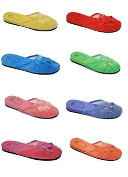 Womens Slip On Chinese Slippers Sandals Assorted Colors Size