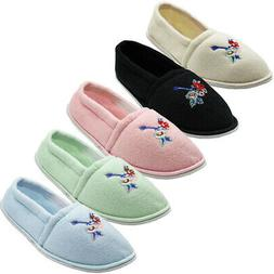 Womens Slippers House Shoes Terry Slip On Soft Embroidery Co
