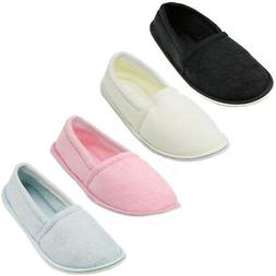 Womens Slippers House Shoes Terry Slip On Soft Comfort Color