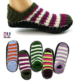 Womens Woven Knit Knitted Slip-On Slippers Socks Shoes Non-S