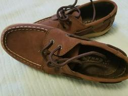 YOUTH SPERRY TOP-SIDER BROWN LACE TIE BOAT SHOES / SLIPPERS